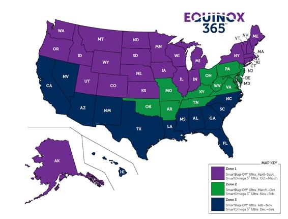 Map of Equinox Zones