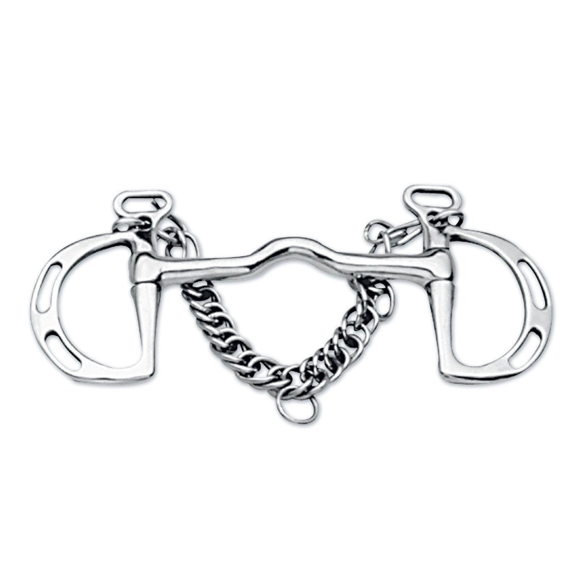 """NEW SHOWMAN KIMBERWICKE UXETER STAINLESS SNAFFLE BIT WITH CHAIN FREE SHIP! 5/"""""""