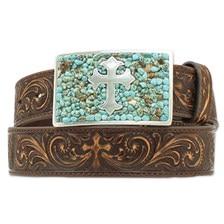 Nocona Women's Tooled Brown Belt w/ Turquoise Cross