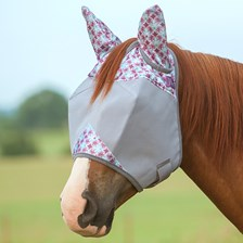 Patterned Crusader Fly Mask- Standard with Ears - Pony - Clearance!