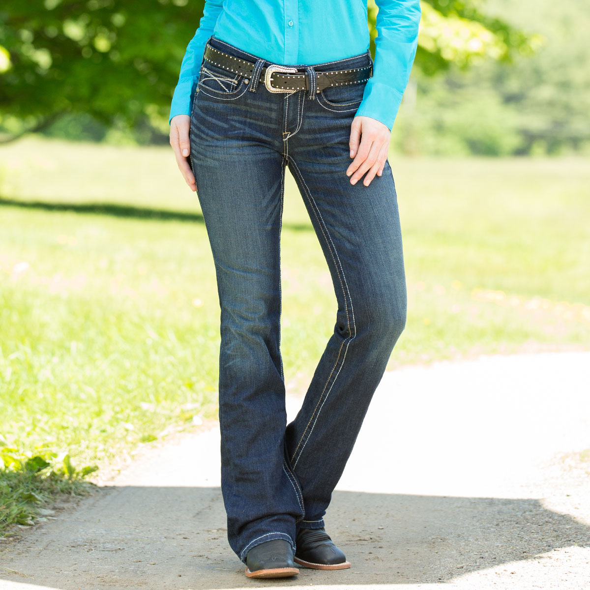 7a28547b Ariat Women's R.E.A.L. Riding Jeans Boot Cut- Ocean
