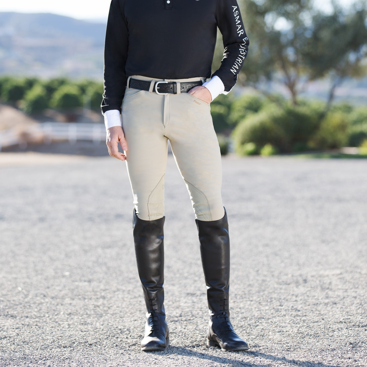 Mens Angled Pockets Breeches with Knee Patches Rodrigo Pikeur