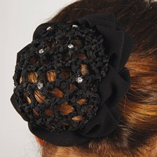 Crystal Hair Net Scrunchie with Clips