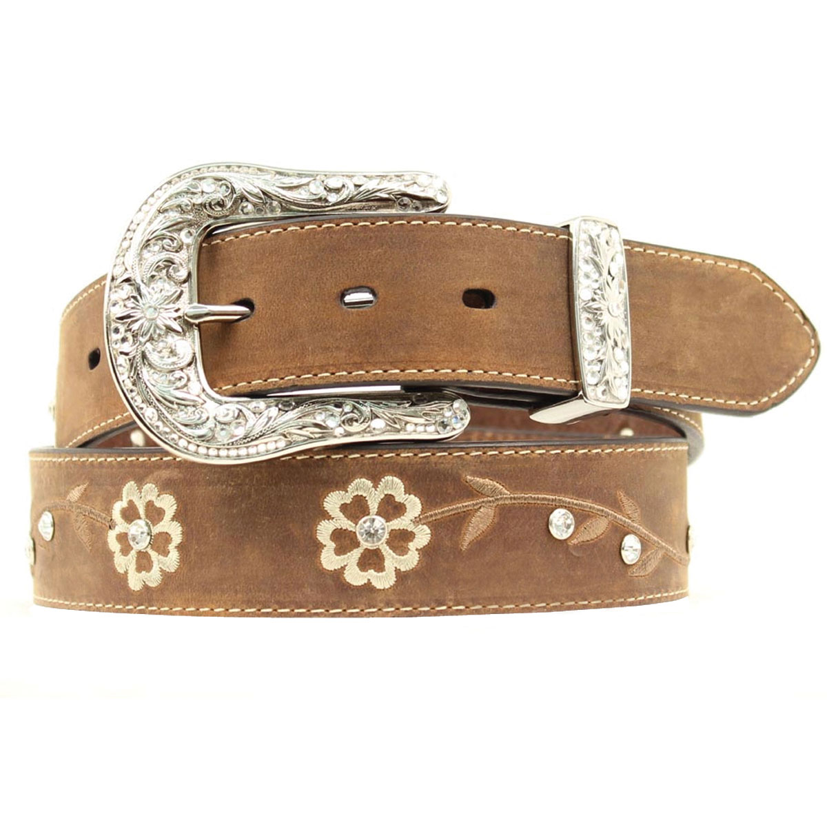 Ariat® Women's Blingy Brown Flower Belt
