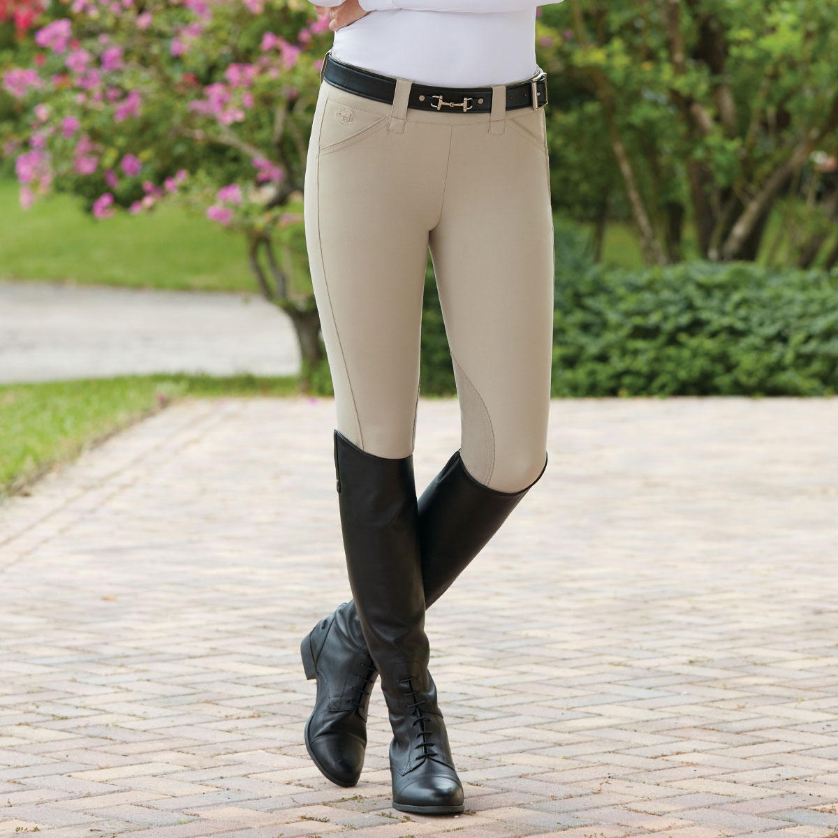 Piper Breeches by SmartPak - Show Side Zip Knee Patch