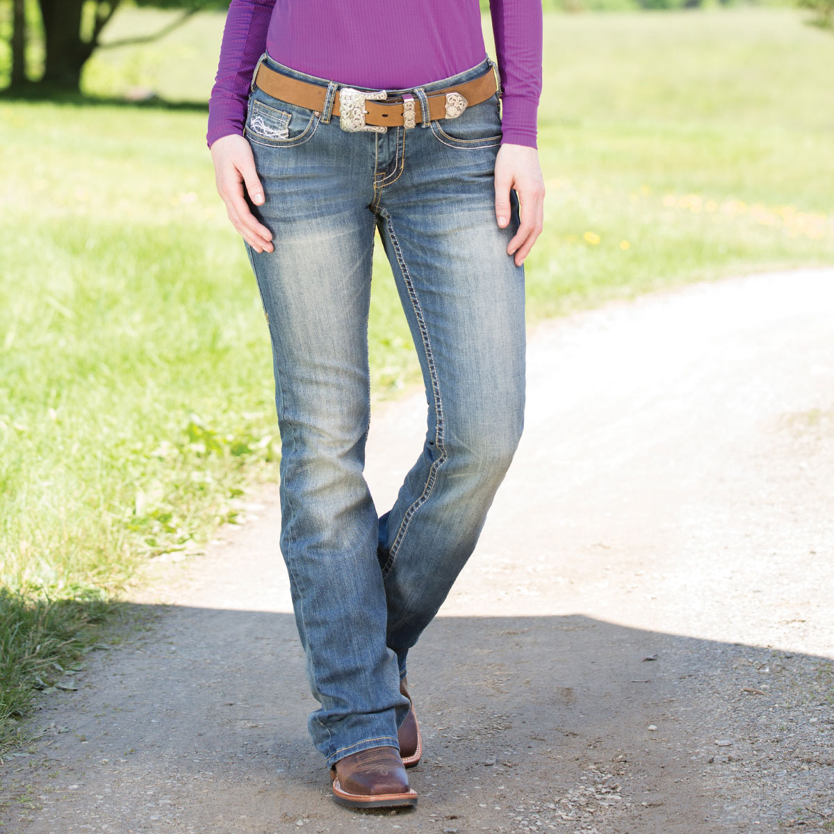 Cowgirl Tuff Women's Don't Fence Me In Jeans- Medium Wash