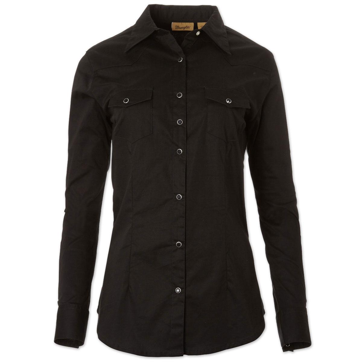Wrangler® Women's Western Fashion Long Sleeve Solid Top