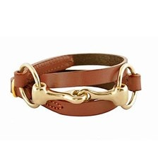Rebecca Ray Classic Leather Wrap Snaffle Bracelet