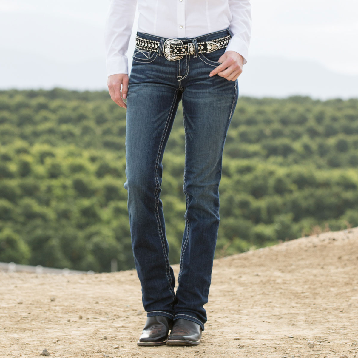 0c33f3a0 Ariat Women's R.E.A.L. Straight Icon Jeans- Ocean