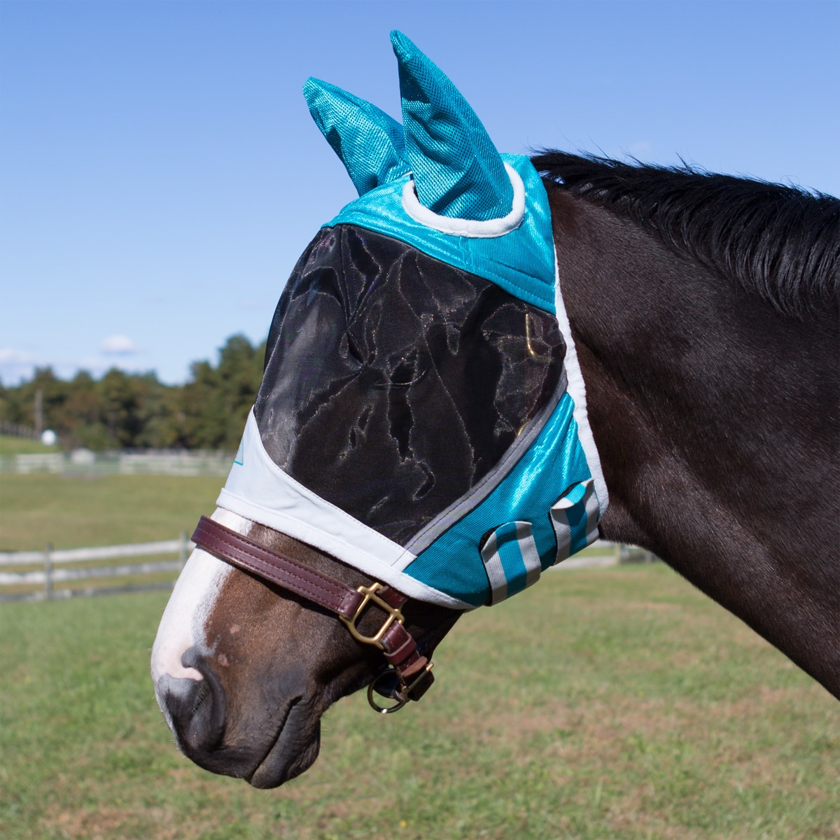 Shires Fine Mesh Fly Mask With Ears Teal