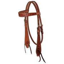 Circle Y Chocolate Buckstitch Browband Headstall