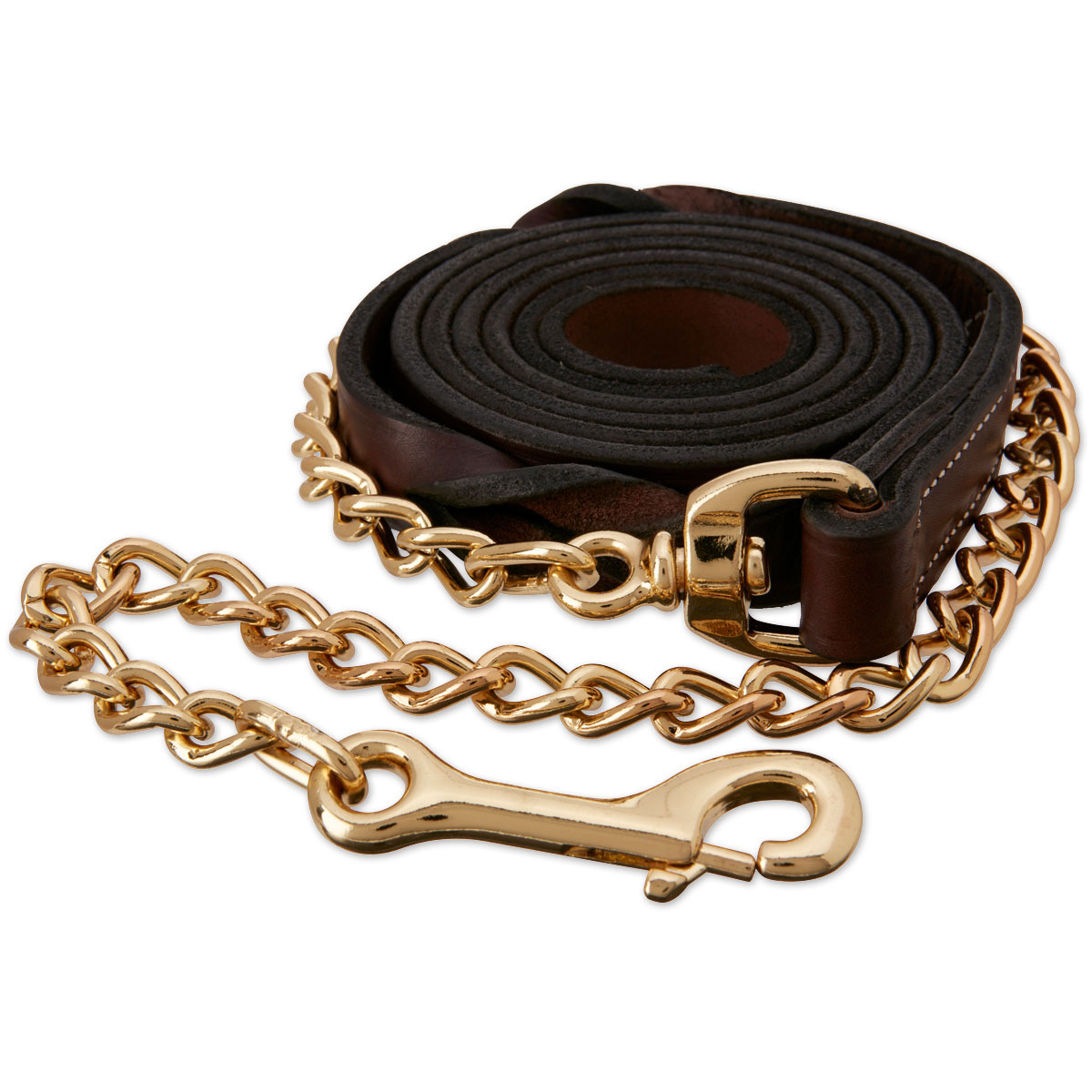 Walsh Leather Lead with 24 Chain Havana