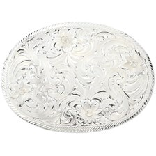 Montana Silversmiths Oval Silver Engraved Belt Buckle