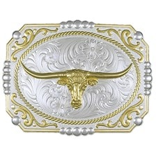 Montana Silversmiths Two-Tone Cowboy Cameo Buckle with Longhorn