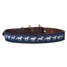 SmartPak Cotton & Leather Collar - Running Horses