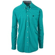 Cinch Men's Classic Fit Printed Button Down Shirt-Teal With Contrast Trim