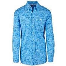 Cinch Men's Classic Fit Paisley Button Down Shirt- Royal Blue