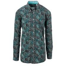 Cinch Men's Classic Fit Black Paisley Button Down Shirt with Contrast Trim