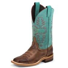 Justin Women's Bent Rail Boots- Kenedy Turquoise