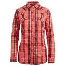 Wrangler® Women's Coral Plaid Long Sleeve Shirt