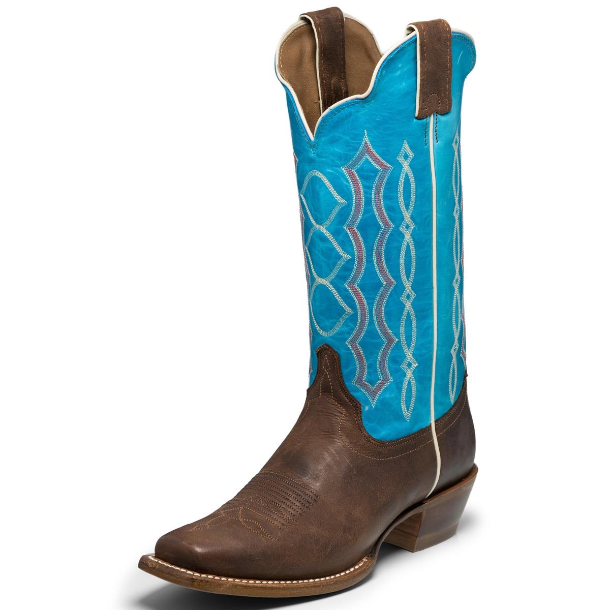 Justin Women's Bent Rail Boots- Aqua Pompero
