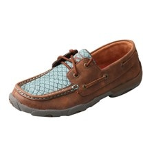 Twisted X Women's Driving Moccasins – Brown/Blue Fish
