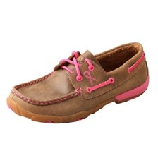 Twisted X Women's Boat Shoe Driving Moccasins – Bomber/Neon Pink