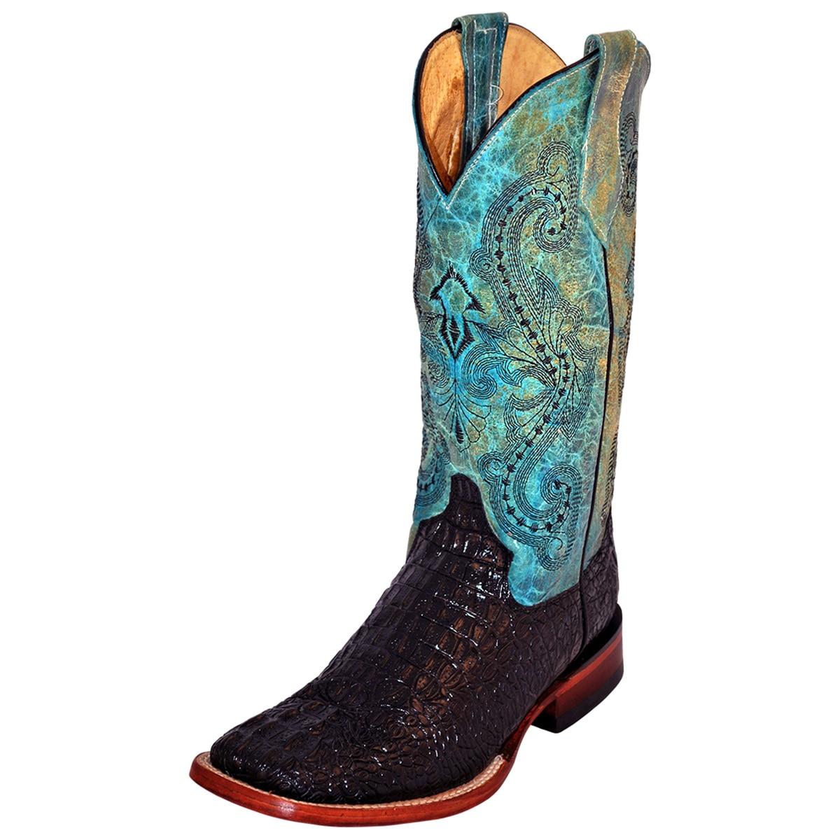 Ferrini Women's Print Caiman Wide Square Toe Boots