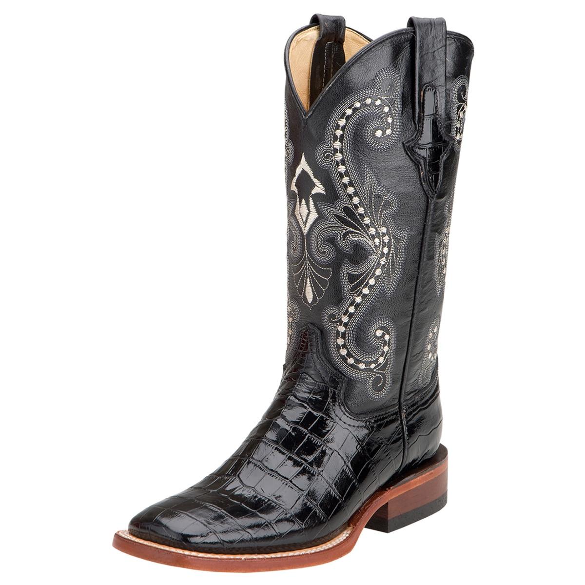 Ferrini Women's Print Belly Alligator Wide Square Toe Boots