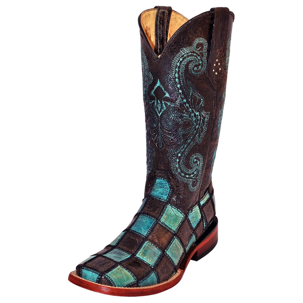 Ferrini Women's Patchwork Wide Square Toe Boots