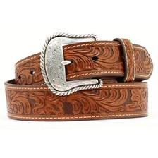 Nocona Men's Cognac Scroll Embossed Belt
