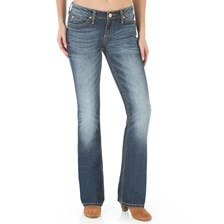 Wrangler® Women's Retro Mae Mid-Rise Boot Cut Jeans- Dark Blue