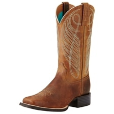 Ariat Women's Round Up Wide Square Toe Boots - Powder Brown