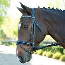 Wellfleet® Contoured Patent Bridle w/Turquoise & Clear Crystal Browband by SmartPak