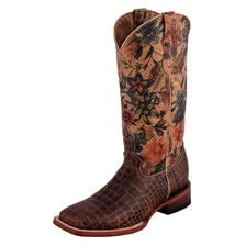 Ferrini Women's Vintage Print Croc Belly Boot