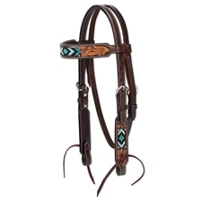 Turquoise Cross Pony Browband Headstall - Turquoise Bead