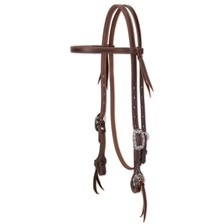 Weaver Working Tack Straight Browband Headstall with Floral Hardware