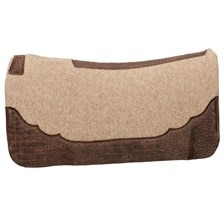 Weaver Contoured Wool Blend Felt Saddle Pad with Croco Cognac Embossed Wear Leathers