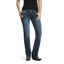 Ariat R.E.A.L Mid Rise Entwined Stackable Straight Leg Jean - Dresden