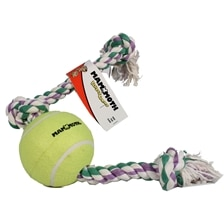 Flossy Chews Rope Tug With Big 6 Inch Tennis Ball