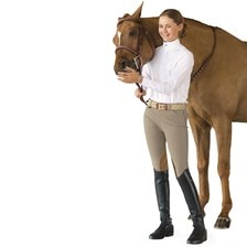 Ovation Girls Euroweave Side Zip Euro Knee Patch Breech