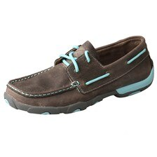 Twisted X Women's Boat Shoe Driving Moccasin - Grey/Light Blue